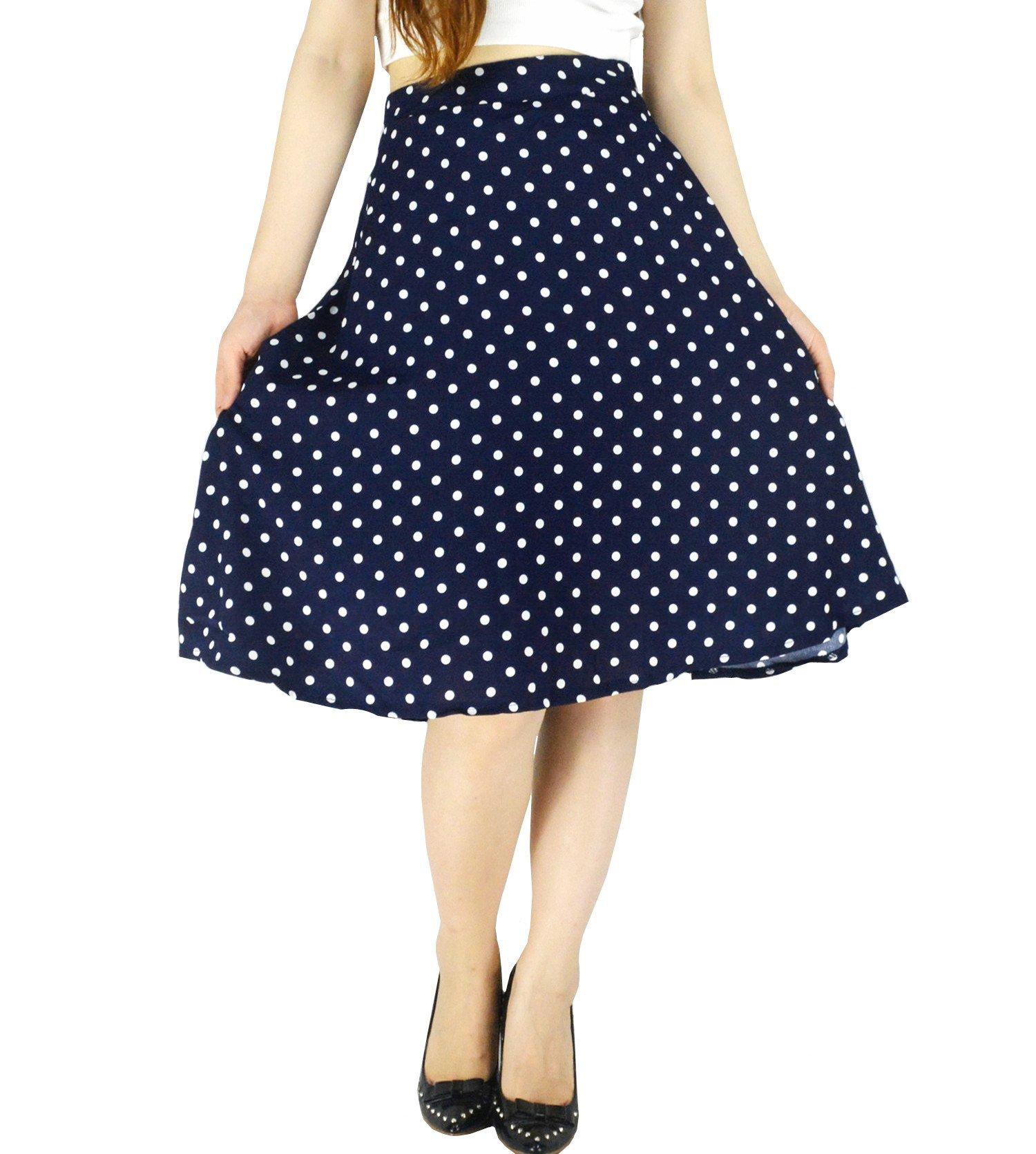 YSJ Women's Polka Dot Chiffon Mini Skirt Chic Summer A Line Swing Skirts (S, Navy Blue)