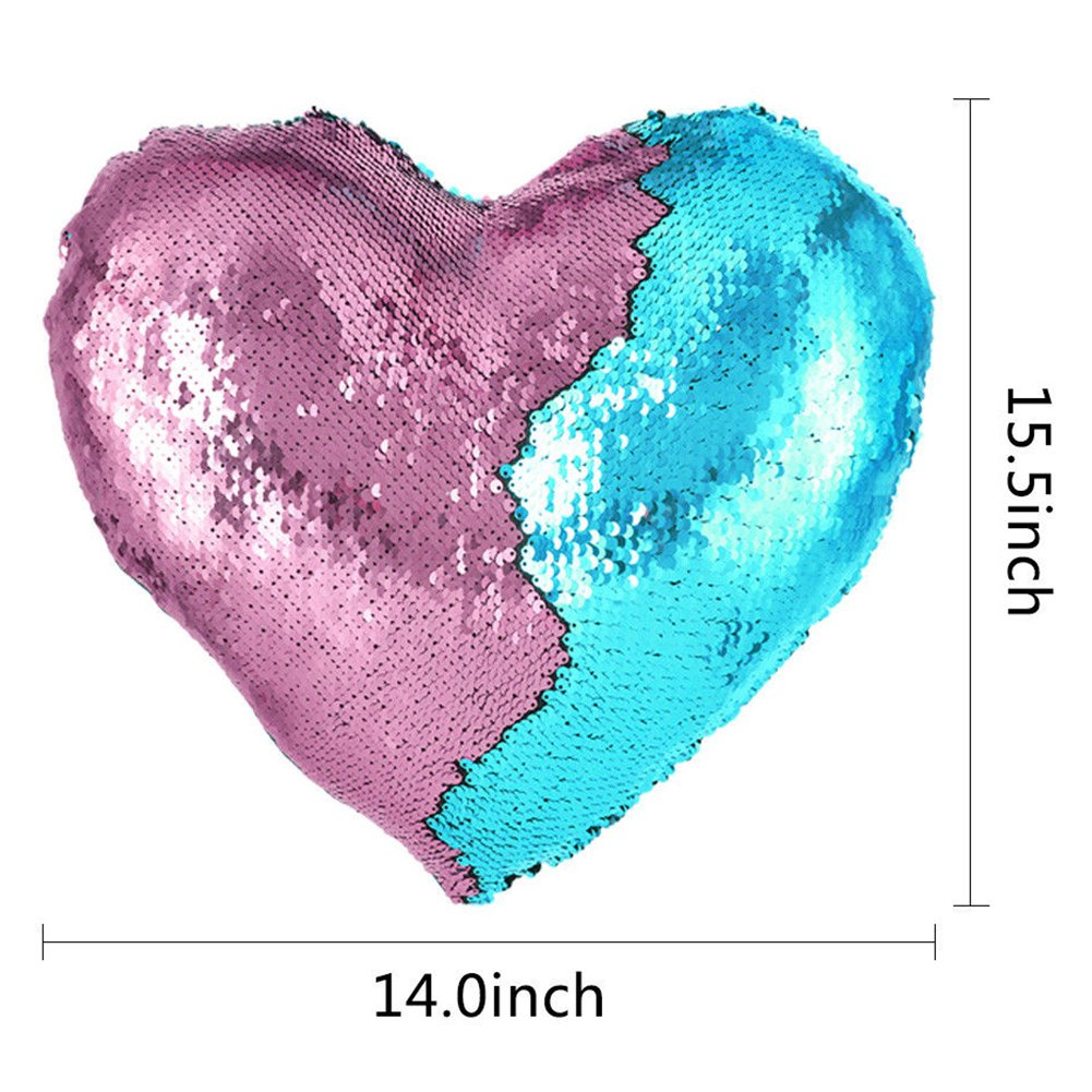 Heart Shape Sequin Pillow with Insert Mermaid Reversible Color Change Throw Shiny Two Color Flip Cushion Magic Write On Girls Gift Bolster for Sofa Couch Bedroom Car 14'' x 15.5'',Blue and Pink by URSKYTOUS (Image #6)