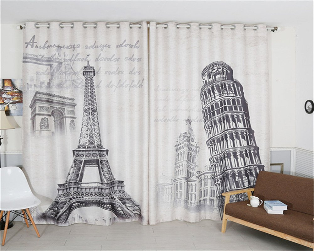 Jameswish Gorgeous 3D Eiffel Tower Blackout Window Curtains Korean Newest Design Thermal Insulated Hooked 1 Panel Curtains For Living Room Bedroom Theme Room Restaurant
