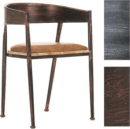 CLP Chaise de Bar Design Industriel Belvedere I Tabouret de Bar Style Industriel Assise Rembourrée Accoudoirs et Dossier I Chaise de Bistro Pieds en