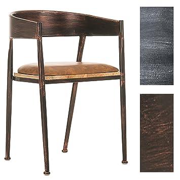 CLP Silla de Comedor Belvedere en Industrial Look I Silla de Salón Vintage con Altura de Asiento de 48 cm I Color: Bronce