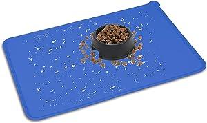 HOOSUN Pet Food Mat, Pet Silicone Bowl Mat, Pet Feeding Mat, Waterproof Dog Cat Mat Premium Silicone Food Grade Non-Stick Non-Slip Anti-Spill Easy Clean