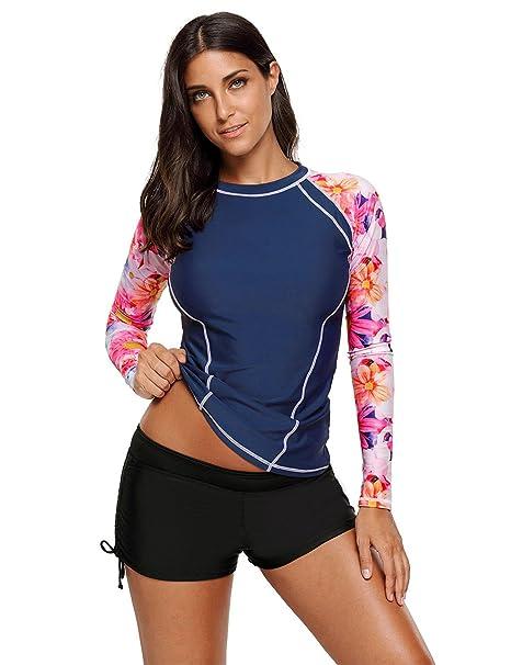 823d83262b ACKKIA Women's Long Sleeve Printed Rash Guard Tops Navy Athletic Rashguard  Swim Shirt Swimwear Size S