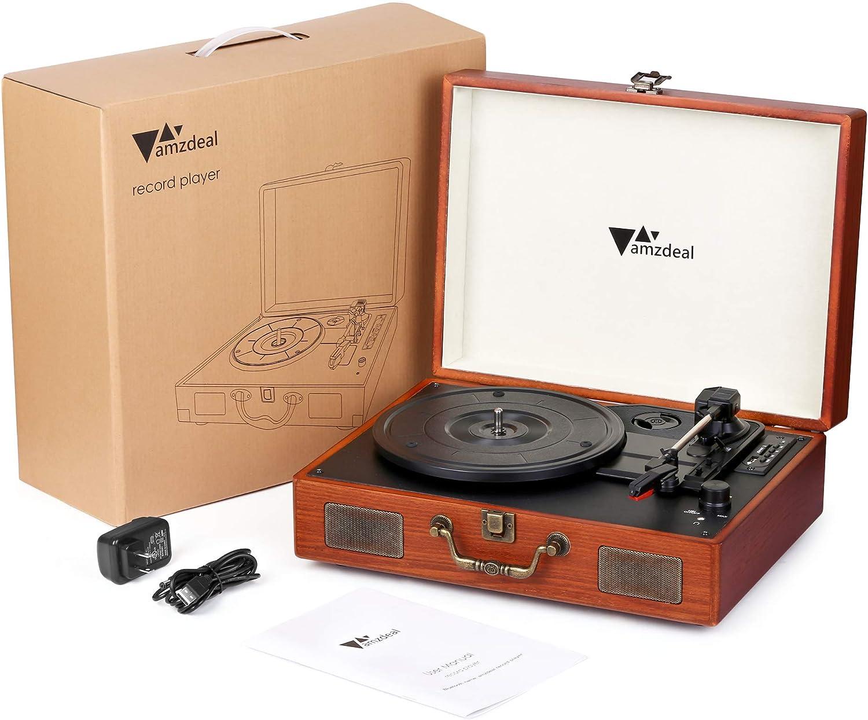 Tocadiscos Amzdeal, tocadiscos de vinilo con Bluetooth, con ...