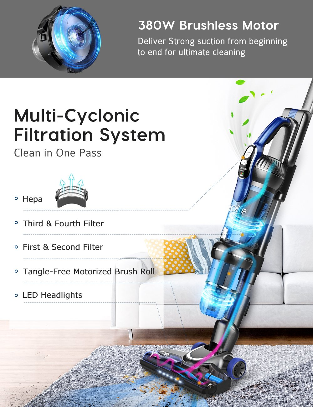 Holife 2 in 1 Cordless Vacuum Cleaner - 20Kpa Powerful Lightweight Stick Handheld Vacuum Cleaner with Long Lasting 25.2V 2500mAh Rechargeable Li-Ion Battery for Home Floor Carpet Pet Hair Car Cleaning LivSense