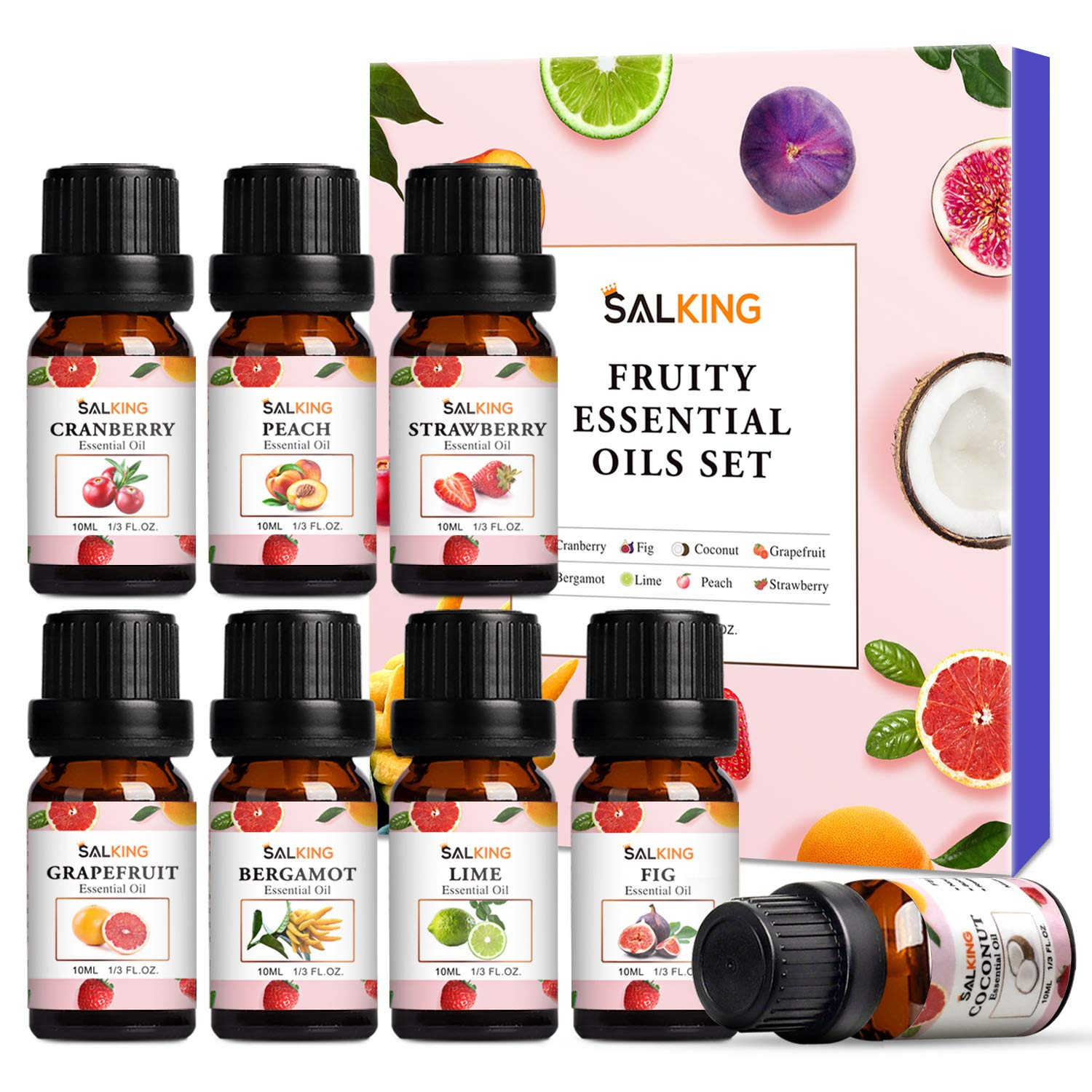Fruity Essential Oils Set 8x10ml, Pure Essential Oils Gift Set for Diffusers, Humidfiers, Massage - Coconut, Cranberry, Grapefruit, Strawberry, Peach, Bergamot, Lime, Fig Essential Oil