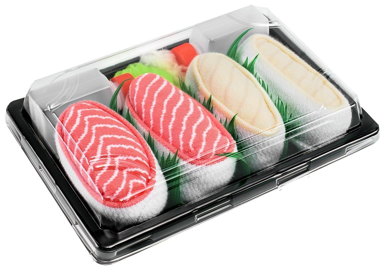 Sushi Socks Box - 2 pares de CALCETINES: Nigiri Salmón Pampanito - REGALO DIVERTIDO, Algodón de alta Calidad|Tamaños 41-46, Certificado de OEKO-TEX, ...