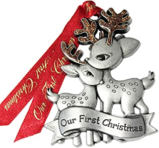 product image for 2020 Just Married Newlywed Pewter Christmas Tree Ornaments. Various Styles Available (Reindeer Couple)