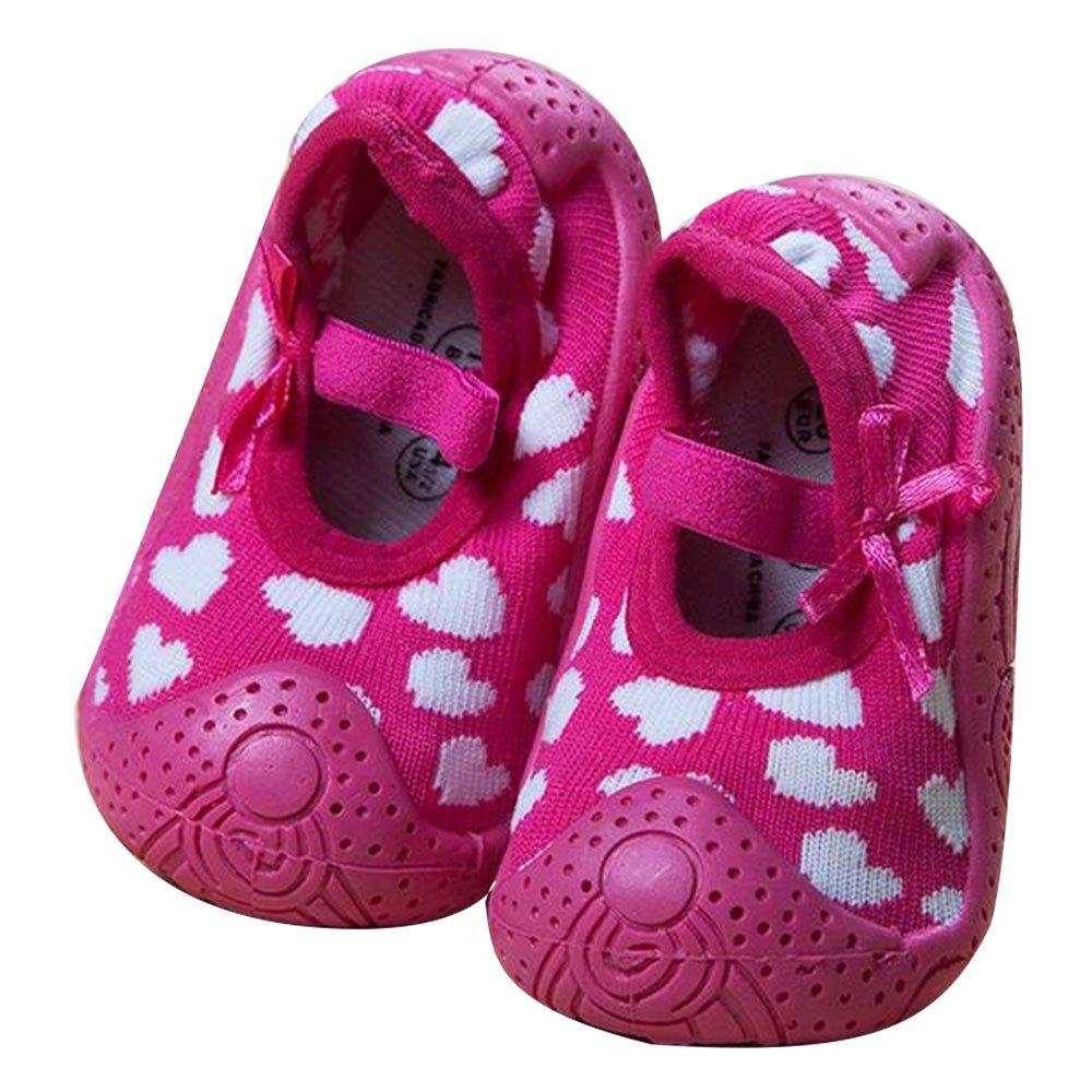 iEndyCn Summer Infant Socks Anti Slip Newborn Baby Boy Socks With Rubber Soles Cartoon Kids Toddler Girl Cotton Socks (about 11 cm, Rose Pink Heart)