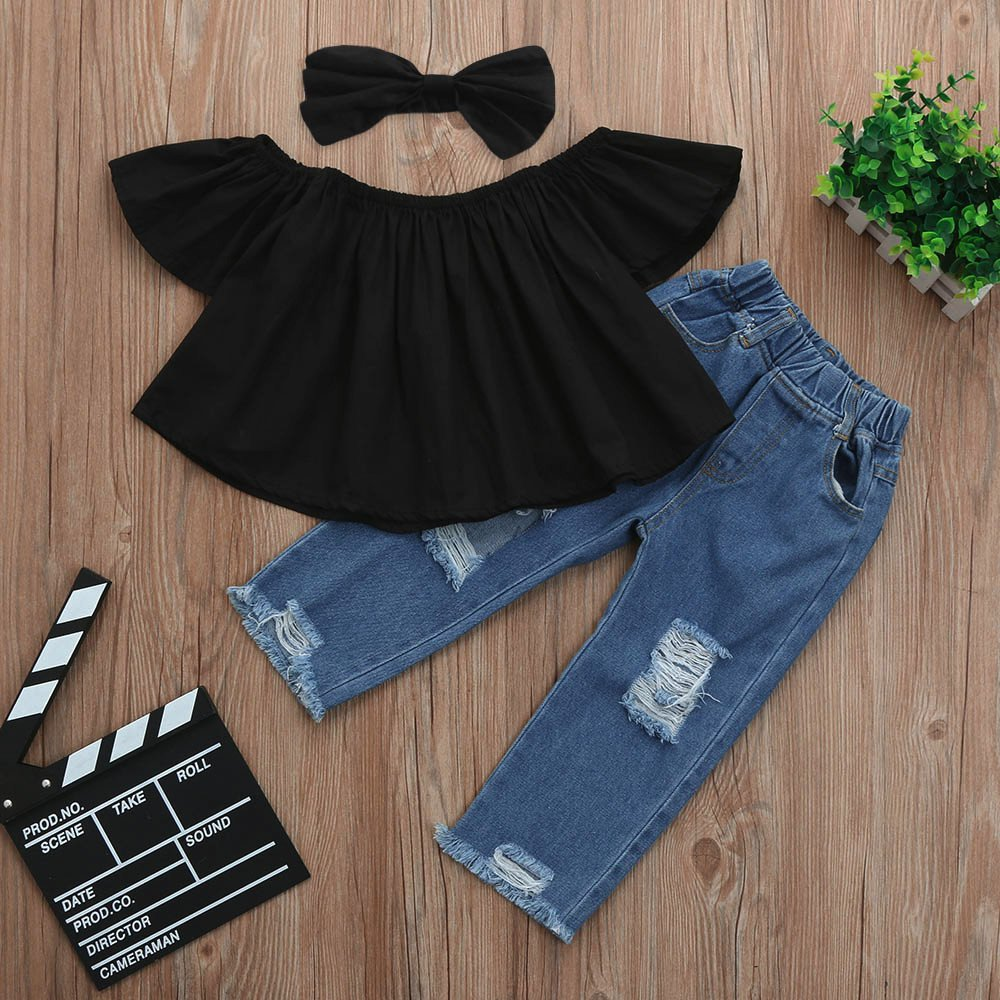 Littleice Toddler Kids Baby Girls Off Shoulder Crop Tops + Hole Denim Pant Jean Headband Outfits Clothes Set