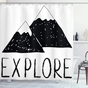 Ambesonne Adventure Shower Curtain, Explore Lettering with Wild Forest Hand Drawn Simple Mountains Nature Theme, Cloth Fabric Bathroom Decor Set with Hooks, 70