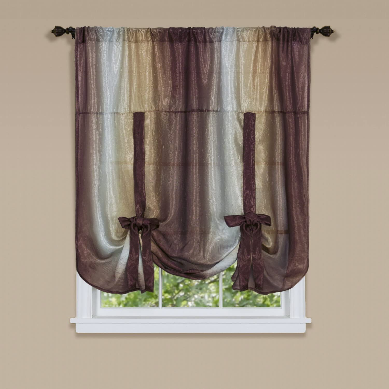 "Achim Home Furnishings Ombre Tie up Shade Window Curtain, 50"" x 63"", Chocolate"