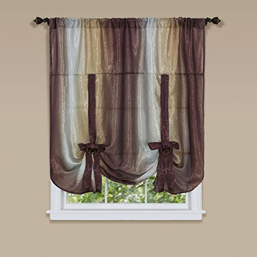Achim Home Furnishings Ombre Tie up Shade Window Curtain, 50 x 63 , Chocolate