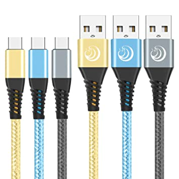 Yosou Cable USB Tipo C [2M,3 Pack] Cable USB C Cargador Rápida Nylon Duradero Compatible con Samsung Galaxy A20e/A40/A50/A70/S10,Huawei P30/P20,Xiaomi ...
