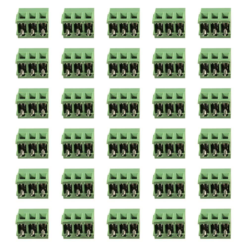 Aoicrie 30pcs 3P 5.00mm Pitch 3Pin PCB Mount Screw Terminal Block Arduino Socket Strips Connector Assortment Kit