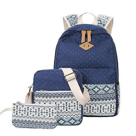 Image Unavailable. Image not available for. Color  Ecokaki Canvas Backpack  Set Shoulder Bag Bookbag School ... facfaa0e4e