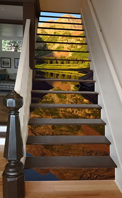 Maroon Bells Reflection RiserArt 46u0026quot; X 14 Painted Stairway Decoration  Adhesive Vinyl Stair Riser Panels