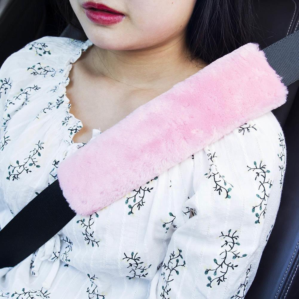AmerStar 2Pcs Car Seatbelt Shoulder Pad Comfortable Driving Seat Belt Vehicle Soft Plush Auto Seatbelt White
