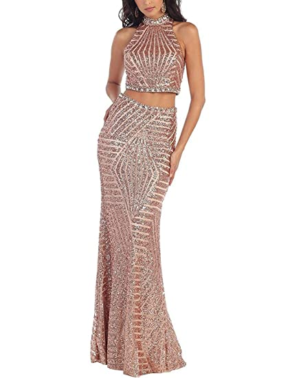 Baijinbai Womens Two Pieces Beaded Long Evening Prom Cocktail Dresses Prom Gowns Rose Gold UK06