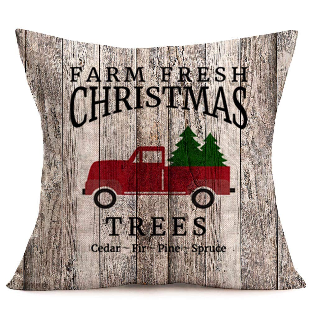 Cotton Linen Cushion Cover Pillow case Home Decor Red Tree