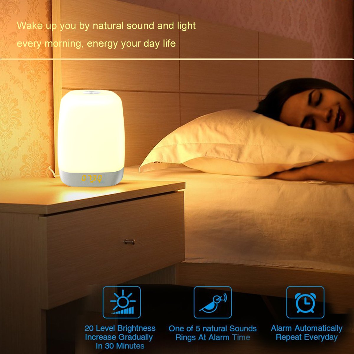 Wake up Lights, Rechargeable Sunrise Alarm Clock Bedside Lamp with Sunset Simulation and 5 Natural Sounds, Touch Control Night Light, 3-Level Dimming for Bedroom and Heavy Sleepers