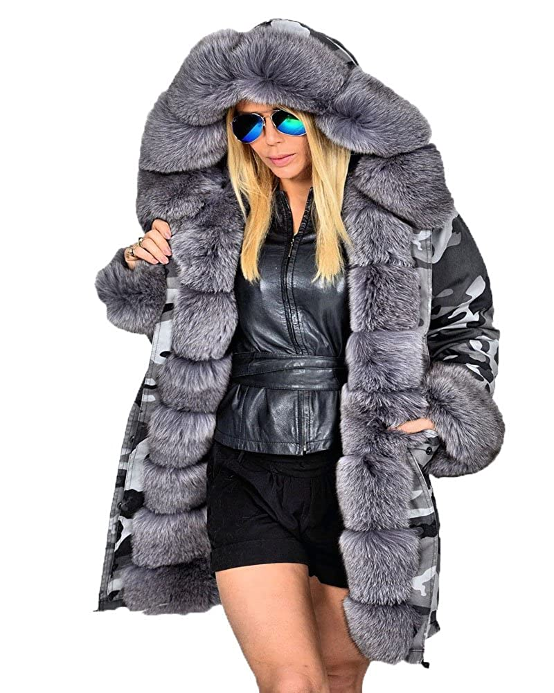 Roiii Women Winter Camouflage Thick Gray Fur Parka Long Hooded Jacket Coat MX7001