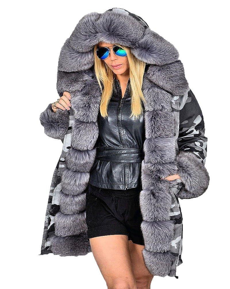 Roiii Women Winter Camouflage Thick Gray Fur Parka Long Hooded Jacket Coat MX7001