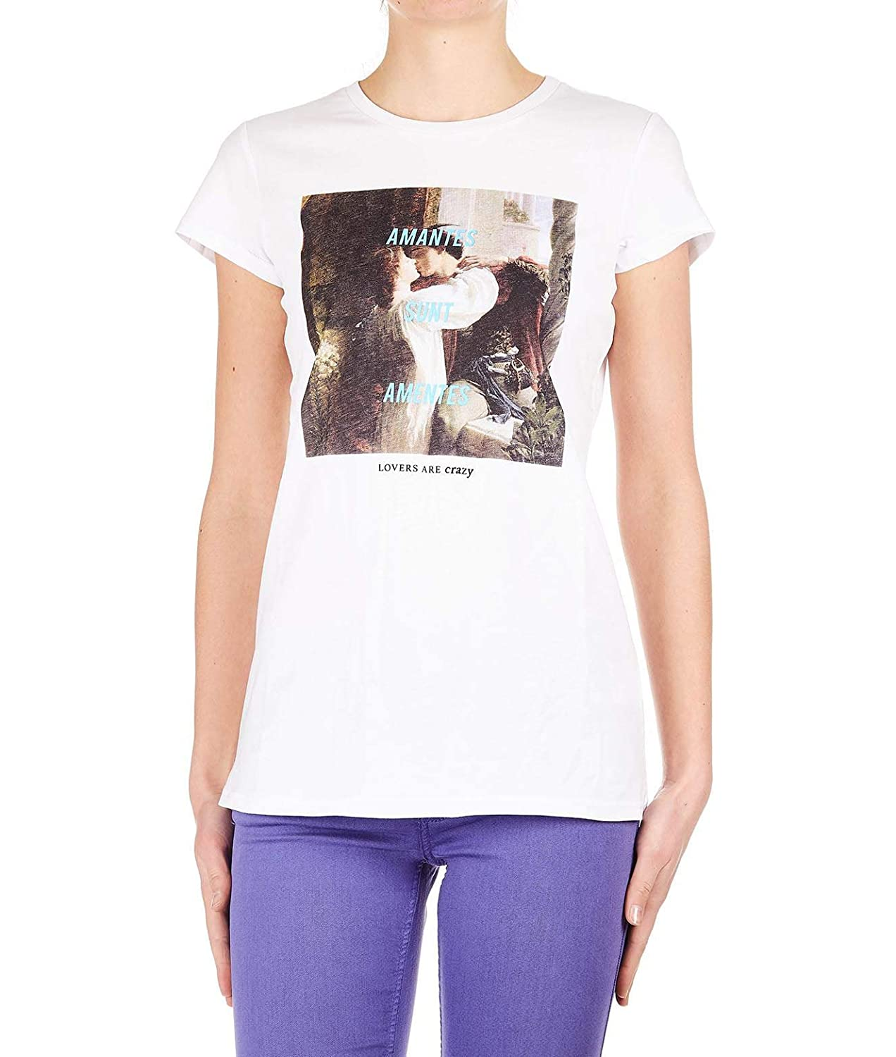 Silvian Heach Women's PGP19892TSDICKSEE White Cotton TShirt