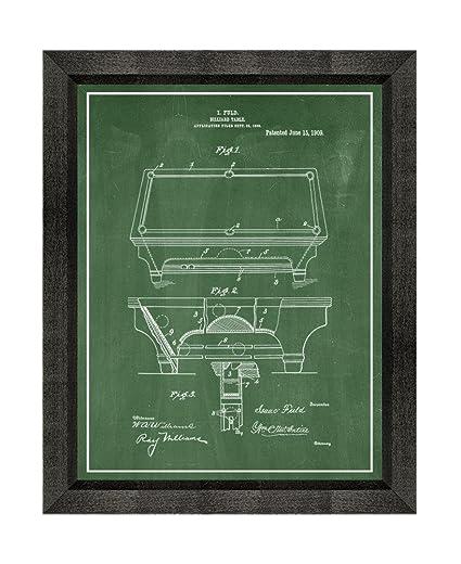 Amazoncom Billiard Table Patent Art Green Chalkboard Print With A - Pool table chalk board