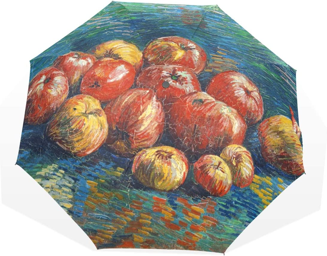 """Huakz Van Gogh's Paintings Customized Umbrella Surface Design Apple and Tomato Fruit 10.5"""" Long Portable Triple Folding Use Width 3.3-Foot Strong Windproof Bracket Retro Blue"""