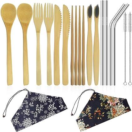 YuCool - Juego de 2 cubiertos de bambú, utensilios de bambú reutilizables y portátil, incluye cuchillo de bambú, tenedor, cuchara, palillos y cepillo ...