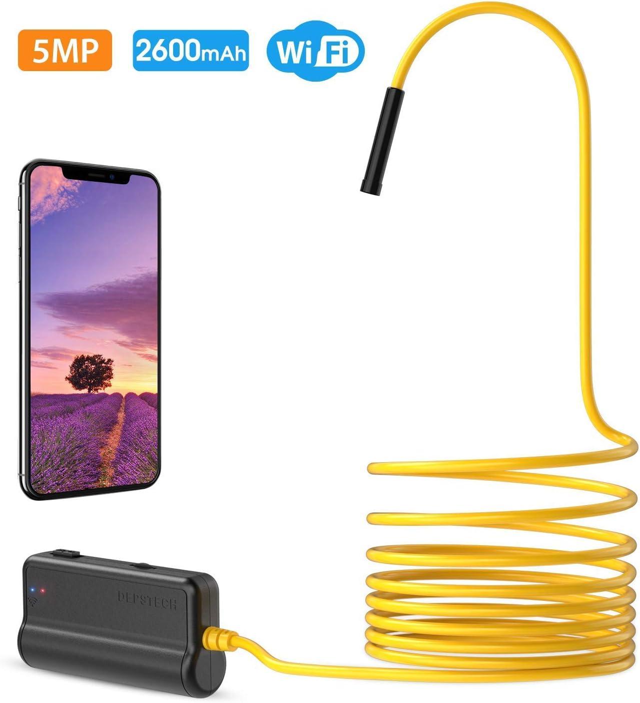 Impermeabile IP68 1536PHD AUTDER Telecamera Endoscopica WiFi 3MP Endoscopio con Asta Telescopica Ausiliaria Adatto per Smartphone Android e iOS Messa a Fuoco Automatica Tablet