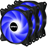 upHere Long Life 120mm 3-Pin High Airflow Quiet Edition Blue LED Case Fan for PC Cases, CPU Coolers, and Radiators 3-Pack,PF1