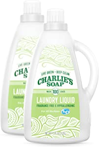 Charlie's Soap Laundry Liquid (100 Loads, 2 Pack) Natural Deep Cleaning Hypoallergenic Laundry Detergent – Safe, Effective and Non-Toxic