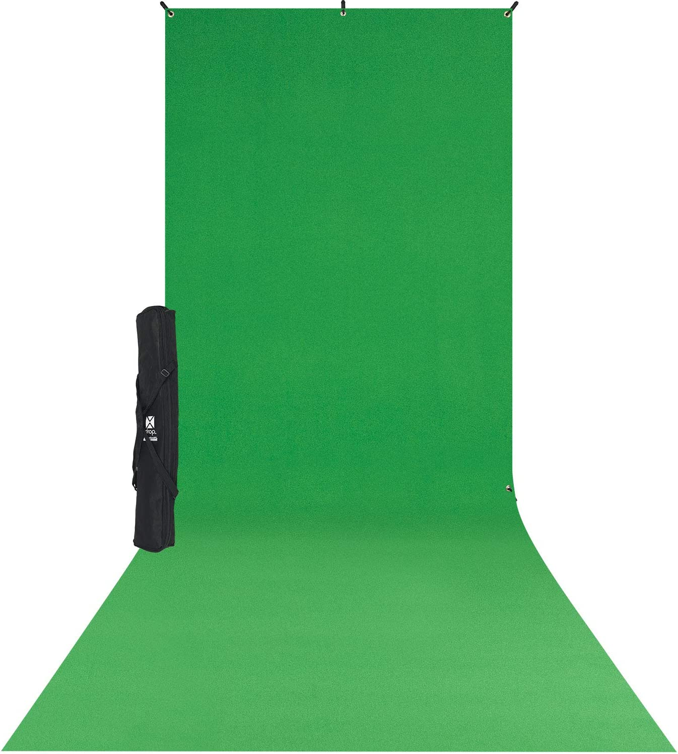 Westcott X-Drop Wrinkle-Resistant Photography and Video Conference Backdrop Kit - Chroma-Key Green Screen Sweep (5' x 12') Quick Assemble, Portable Background for Portraits and Headshots