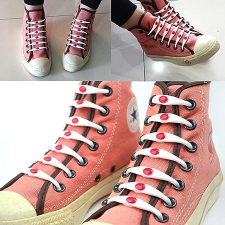 12pcs Elásticas silicona no corbata cordones para zapatillas ...