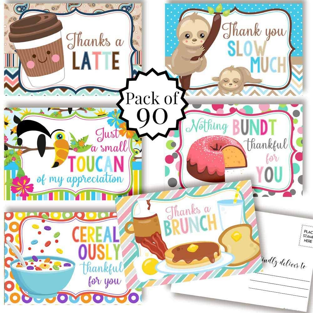 Cute Animal & Food Related Puns Gratitude, Appreciation Themed Thank You Blank Postcards To Send To Friends, Family, Customers, 4