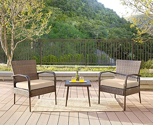 Homewell 3pc Wicker Patio Furniture Set Cushioned Chairs Table Lounge Brown