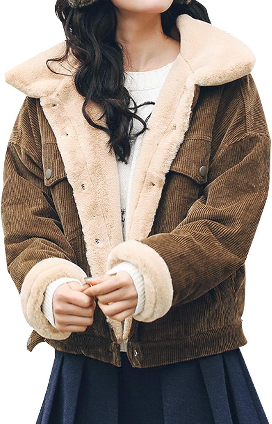 Tanming Womens Casual Warm Corduroy Sherpa Lined Button Up Short Trucker Jacket Coat