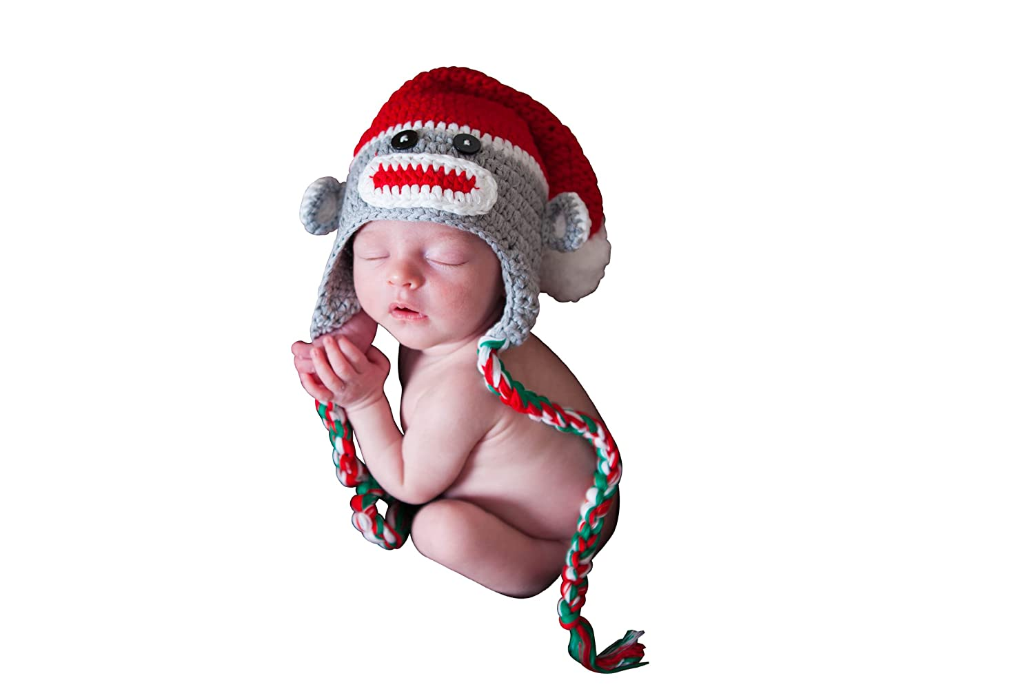 c35d50177ca Amazon.com  Melondipity Christmas Sock Monkey Baby Hat - Gender Neutral  Holiday Beanie  Infant And Toddler Hats  Clothing
