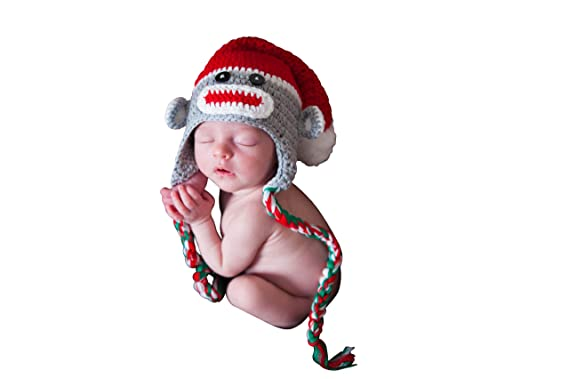 5e0a8ec32 Amazon.com: Melondipity Christmas Sock Monkey Baby Hat - Gender ...