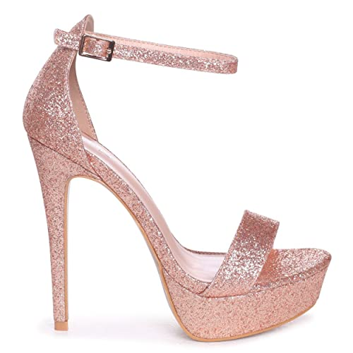 e99689919 Linzi Alesha - Rose Gold Glitter Platform Stiletto Heel  Amazon.co.uk   Shoes   Bags