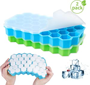 Henscoqi 2 Packs Ice Cube Trays with No-Spill Removable Lid, Easy-Release Silicone 74-Ice Cube Molds BPA Free, Certificated for Whiskey, Cocktail, Stackable Durable and Dishwasher Safe(Blue&Green)