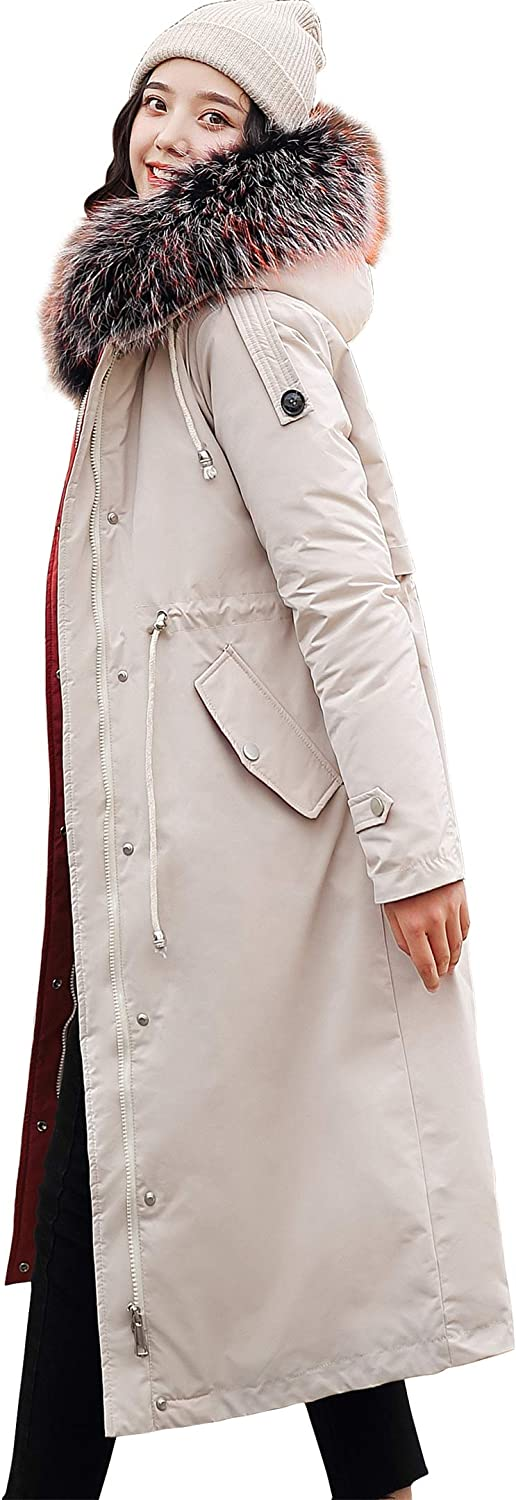 Godeyes Womens Thicken Pure Color Mid-Long with Hood Zipper Trench Coats Outerwear