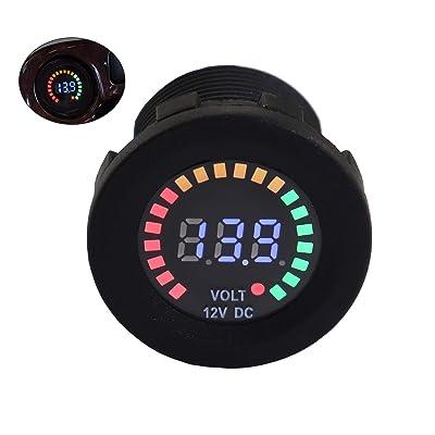 Waterproof battery meter 12V DC Voltmeter LED Digital Display Voltage Gauge Battery Tester for Marine Car Truck Boat RV: Automotive