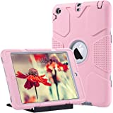 iPad Mini Case, iPad Mini 2/3 Case - ULAK 3in1 Hybrid Heavy Duty Shockproof Kickstand Cover Case For iPad Mini/ iPad Mini 2/ iPad Mini 3, Rose Gold + Gray