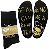 If you can read this bring me a beer Funny Novelty Socks for a Beer Lover (Full Length Lounge Socks)