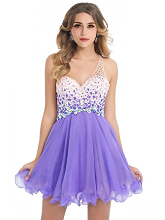 MisShow Womens Short Beaded Prom Dress Sweetheart Homecoming Dress Ball Gown(Purple ...