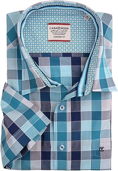 Camisa de Manga Corta a Cuadros Azul Turquesa de Casa Moda ...