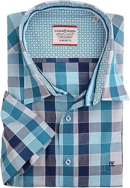 Camisa de Manga Corta a Cuadros Azul Turquesa de Casa Moda Oversize, 2xl-8xl:7XL: Amazon.es: Ropa y accesorios